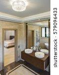 crop of bathroom with two... | Shutterstock . vector #579096433