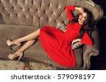 sexy slim beautiful woman in... | Shutterstock . vector #579098197