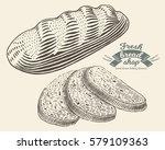 hand drawn bread bakery in...   Shutterstock .eps vector #579109363