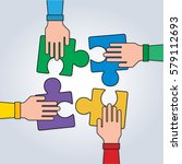 hands with puzzle  teamwork... | Shutterstock .eps vector #579112693