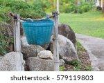 plastic trash basket on bamboo... | Shutterstock . vector #579119803