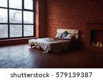 beautiful loft bedroom with bed ... | Shutterstock . vector #579139387