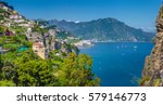 panoramic picture postcard view ... | Shutterstock . vector #579146773