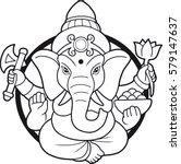 emblem depicting an indian god... | Shutterstock .eps vector #579147637
