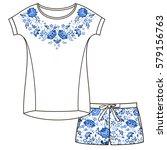 vector pajama set. top and... | Shutterstock .eps vector #579156763