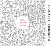 set of seamless hand drawn... | Shutterstock .eps vector #579170443