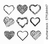 set of isolated grunge hearts. | Shutterstock . vector #579184447