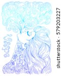 vector hand drawn in profile... | Shutterstock .eps vector #579203227