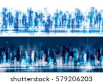 night and day city skyline ... | Shutterstock .eps vector #579206203