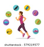 female running and tracking | Shutterstock .eps vector #579219577