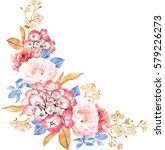 floral bunch of roses  blue...   Shutterstock . vector #579226273
