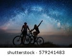 sporting couple with mountain... | Shutterstock . vector #579241483