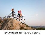 young couple bikers in... | Shutterstock . vector #579241543