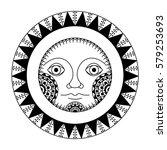 ethnic black sunface silhouette.... | Shutterstock .eps vector #579253693