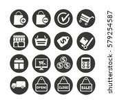 shopping icons set in circle... | Shutterstock .eps vector #579254587