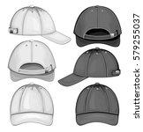 baseball cap. black and white... | Shutterstock .eps vector #579255037