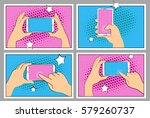 set comic phone with halftone... | Shutterstock .eps vector #579260737