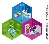 isometric modern dental... | Shutterstock .eps vector #579264517