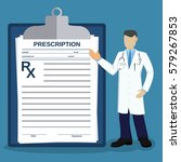 doctor pointing at prescription ... | Shutterstock . vector #579267853
