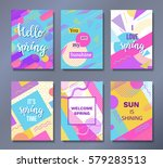 hello spring posters set in... | Shutterstock .eps vector #579283513