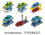 isometric hydraulic lifts for... | Shutterstock .eps vector #579284227