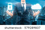 double exposure of professional ... | Shutterstock . vector #579289837