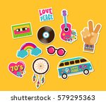 hippie  bohemian stickers  pins ... | Shutterstock .eps vector #579295363