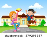 cute little boy and girl with... | Shutterstock .eps vector #579295957