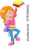 cute schoolgirl with a books in ... | Shutterstock .eps vector #579296023