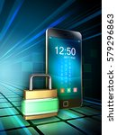 smartphone protected by a... | Shutterstock . vector #579296863