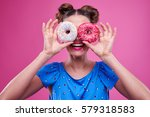 close up of overjoyed young... | Shutterstock . vector #579318583