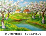 Landscape With Blooming Apple...