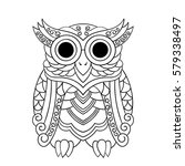 vector hand drawn owl for adult ... | Shutterstock .eps vector #579338497