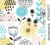 colorful vector seamless floral ... | Shutterstock .eps vector #579353377