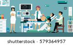 doctor ultra sound pregnant... | Shutterstock .eps vector #579364957
