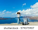 young woman in a hat came to... | Shutterstock . vector #579375907