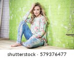 fashionable beautiful blonde... | Shutterstock . vector #579376477