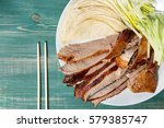 peking duck   chinese roast... | Shutterstock . vector #579385747