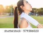exhaustion from exercise. | Shutterstock . vector #579386023
