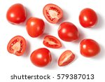 Fresh Plum Tomatoes On White...