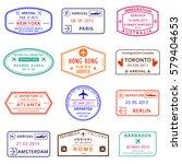 visa stamp set. passport stamps ... | Shutterstock .eps vector #579404653