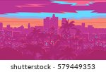 los angeles skyline   vector... | Shutterstock .eps vector #579449353