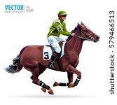 jockey on horse. champion.... | Shutterstock .eps vector #579466513