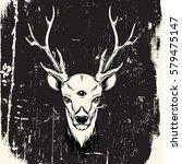 hand sketched deer.... | Shutterstock .eps vector #579475147