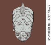 vector hand drawn illustration... | Shutterstock .eps vector #579475177