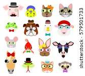hipster animals faces set | Shutterstock .eps vector #579501733