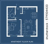 architectural blueprint with...   Shutterstock .eps vector #579504433