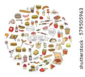hand drawn doodle fast food...   Shutterstock .eps vector #579505963