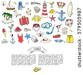 hand drawn doodle summer set... | Shutterstock .eps vector #579505987