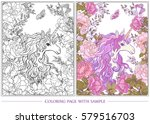 poster with the unicorn  a...   Shutterstock .eps vector #579516703
